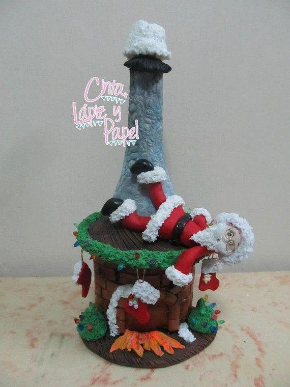 Botella decorada con porcelanicrón motivo de por CintaLapizyPapel