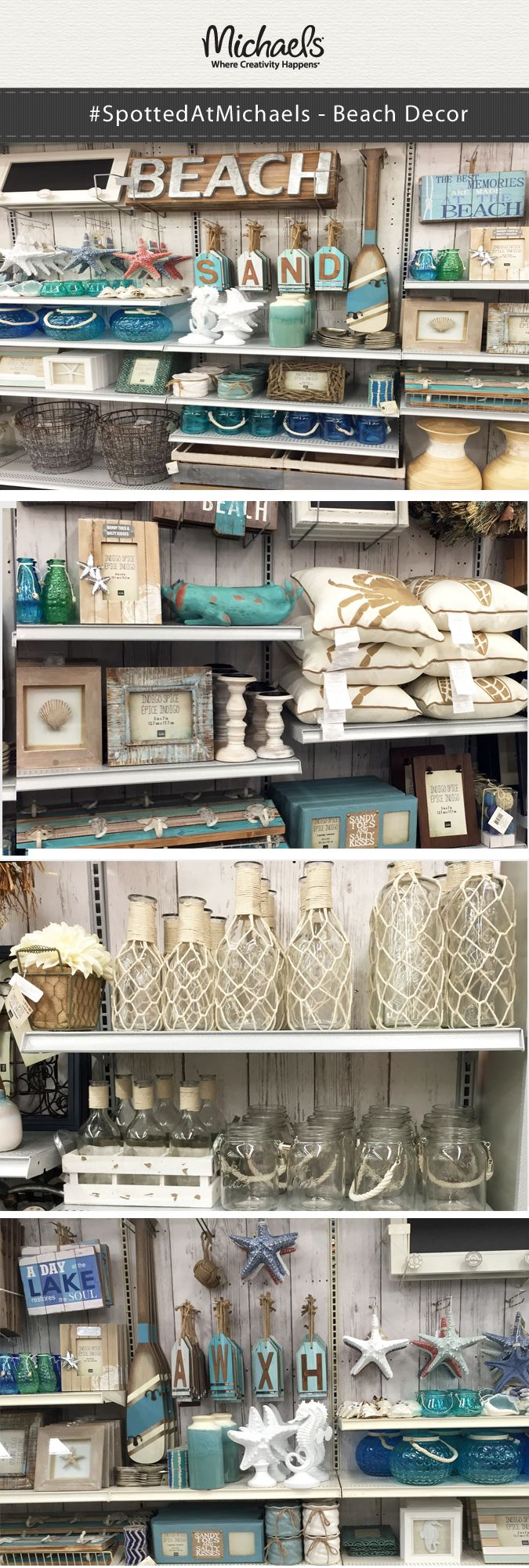 SpottedAtMichaels It's easy to decorate your home, office or cottage with Beach inspired decor! Your local Michaels store has nautical decor from rope entwined bottles, faux starfish and seahorses, weathered signs and frames to pillows and more.