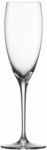 Spiegelau Vino Vino Champagne Glass, Set of 4 by Spiegelau. $44.41. Tall, narrow classic flute design. Unique platinum finishing process increases durability and adds a brilliant shine. 7-1/2 -ounce capacity. Lead-free crystal produced in Germany. Thin, laser-cut and polished rims maximize drinking pleasure. Designed for serving your favorite bubbly, these Spiegelau Vino Vino Champagne Flutes stand 9 -inches tall, creating a gorgeous visual appeal. The thin cut a...