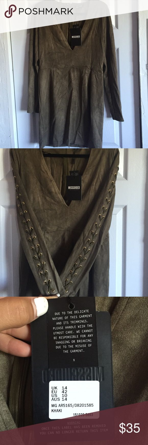 Missguided Dress Khaki size US 10 . NWT . I payed 37.50 online. Too big for me but a really pretty dress to go out in. Missguided Dresses Midi