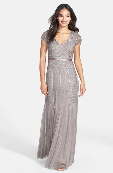 Adrianna Papell Beaded Mesh V-Neck Trumpet Gown on shopstyle.com