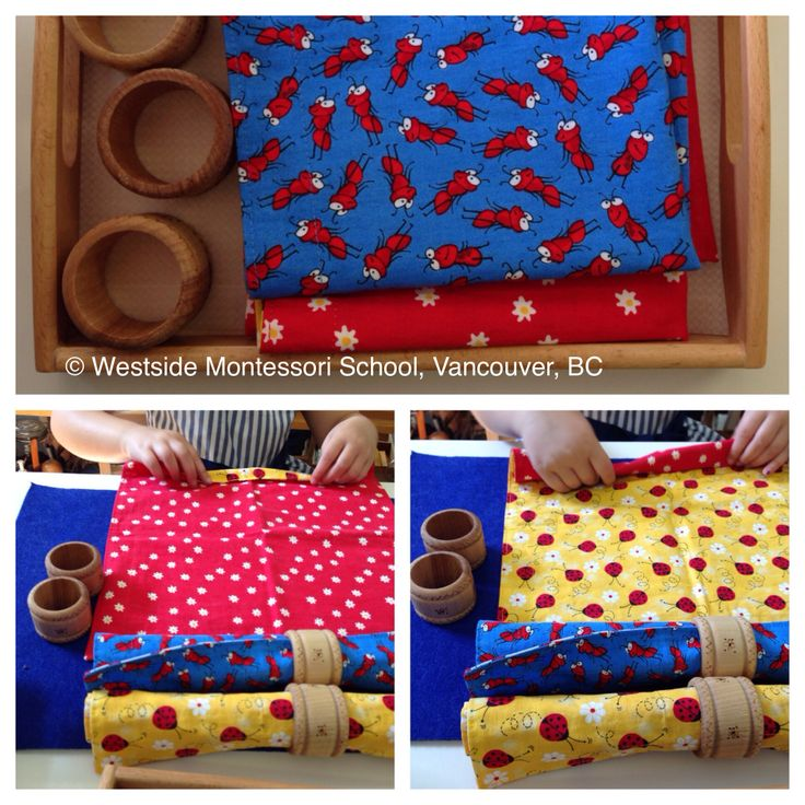 Rolling a Cloth Napkin and using a Napkin Ring. The layout on the tray and the act of rolling the napkin and securing it with a wooden napkin ring. It's all in each beautiful detail - Montessori Practical Life. @wmswms (Westside Montessori School, Vancouver, BC)