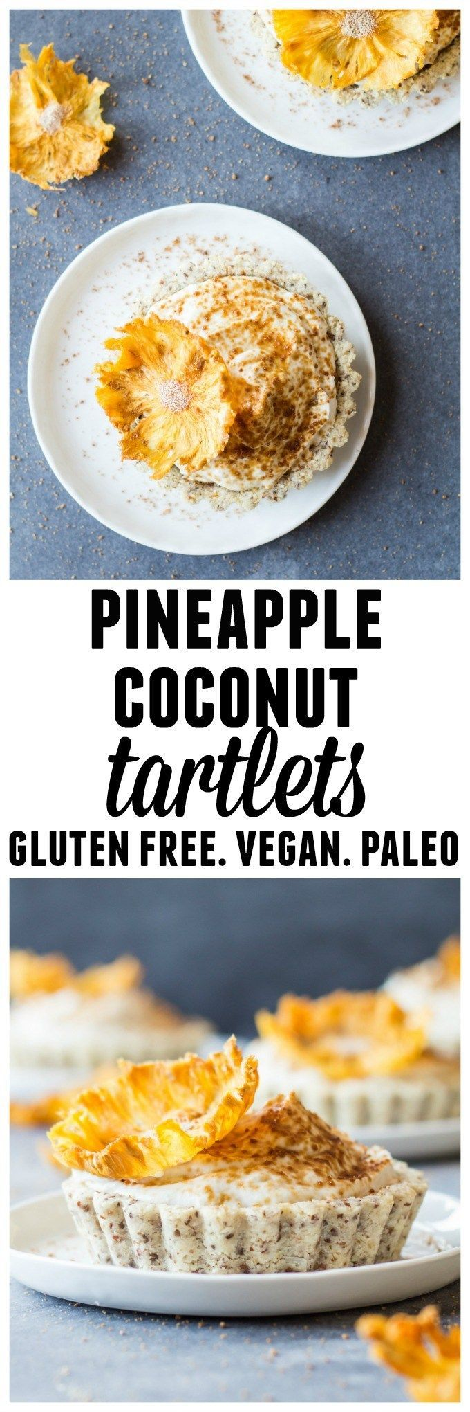 """Green Healthy Cooking's beautiful and elegant recipe for dairy free pineapple coconut tartlets topped with edible pineapple """"flowers."""" An amazing dessert! // Paleo dessert / #vegan #glutenfree #paleo #dessert #recipe #clairekcreations"""