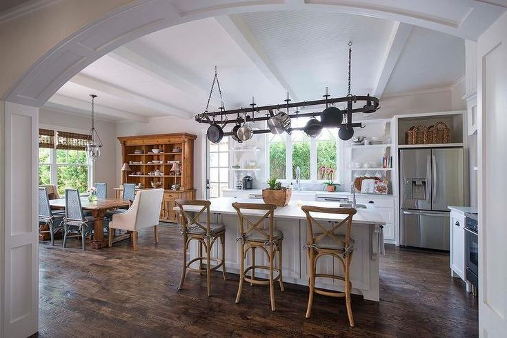 Feel At Home In This Rustic Transitional Kitchen Equipped With Scraped Oak Kitchen Floors