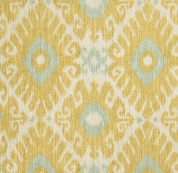 Yellow Aqua Ikat Fabric Upholstery Fabric by the Yard