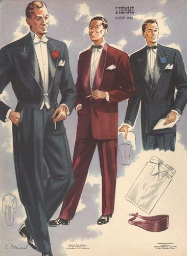 Note: Formal men's look in the 1950s. If it is an evening scene ____________________________________ Men's formal 1950's fashion!