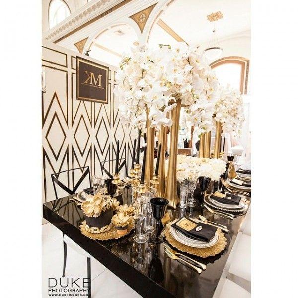 Inspiration deco mariage noir blanc or gatsby jewanda 1 for Deco inspiration