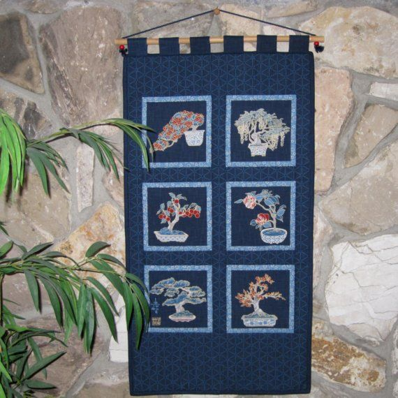 Gift for the Guys - Japanese #Bonsai Trees Quilted Wall Hanging Home Decor by JapanesqueAccents, $85.00