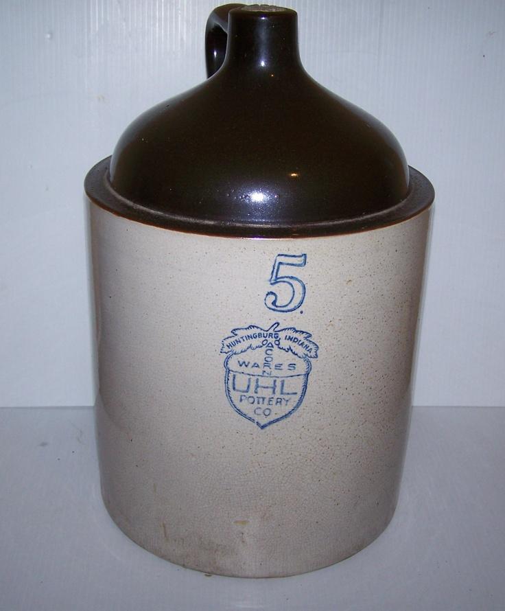 Uhl Acorn Wares Pottery Co 5 Stoware Crock Jug Nice L