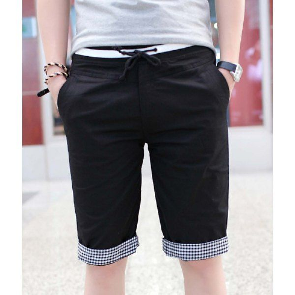 Slimming Trendy Lace-Up Rib Splicing Flanging Straight Leg Polyester Shorts For Men