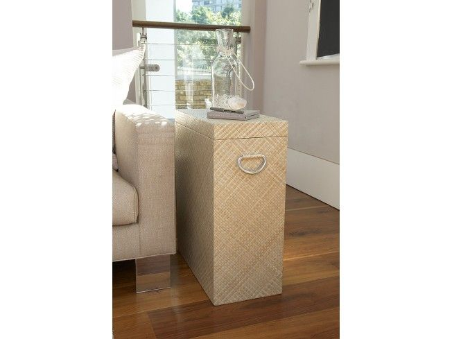 The perfect height to stand by a chair or at the side of a sofa, our pandanus side table combines a spacious storage box with a handy end table. This heavy duty wooden box is lined inside and out with pandanus grass leaves providing outstanding quality. #storage #home #livingroom