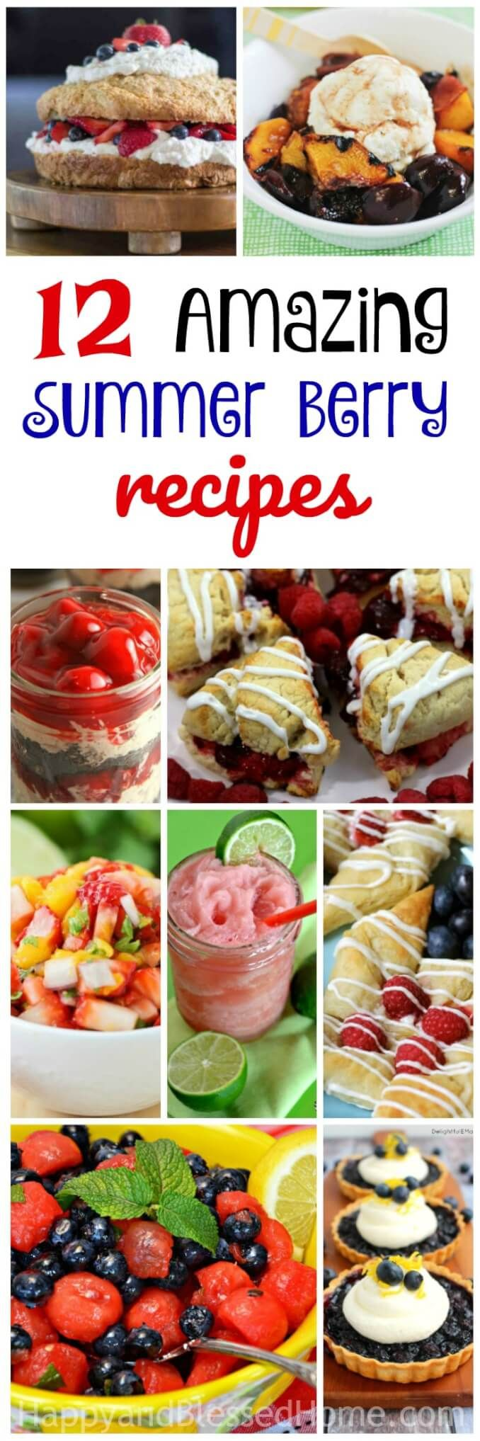 12 Amazing Summer Berry Recipes - Tasty things you can make with summer berries. Dishes with peaches and cherries, and a treat with strawberries. And don't forget blueberries and a raspberry dessert. We've got slushy, pies, tarts and salsa. You just can't beat this round-up of 12 Amazing Recipes you can Make with Summer Berries.