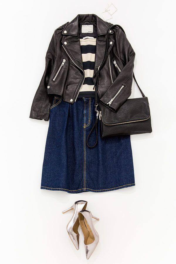 ルミネ北千住の店頭アイテムで新作スカートの着こなしバリエーションをご紹介。デニムスカートを黒レザーでカッコよく、目指すはビターな女! 人気スタイリストMeguさんがシンプル服にトレンド小物を合わせた、今どき感たっぷりのキレ味のあるコーディネートを提案します!