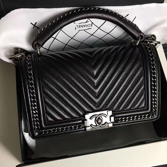 e7af80479b49 Chevron Lambskin Boy Bag with Top Handle Black A14041 | Chanel ...