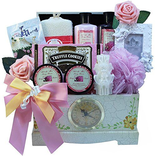 #Victorian #Lace #Gourmet #Tea, #Cookie and #Spa #Bath and #Body #Gift #Basket with #Clock A special #gift perfect for any occasion designed to celebrate elegant #Victorian style, relaxation and good taste We start with a unique antique style wooden #gift chest detailed in hand painted English Roses and inlaid with a real working #clock, sure to become a lovely addition to her home's decor. Your lovely #gift includes our exclusive Art d' Moi #spa products, keepsake picture fr