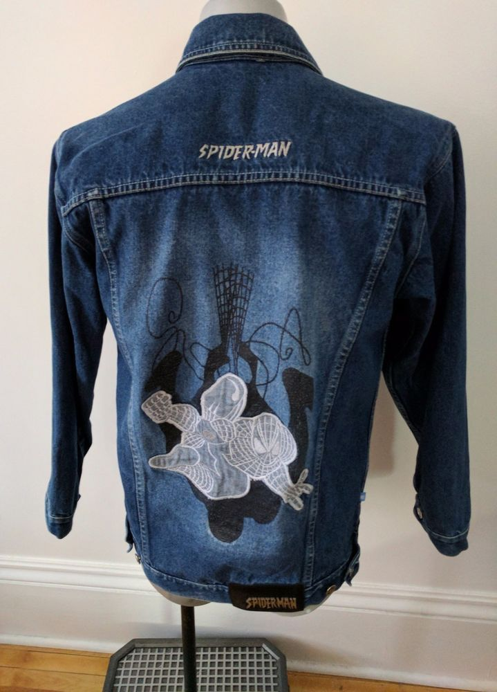 White Spiderman Mens Jean Jacket embroidery XS. Spiderman denim jacket. White spiderman on back. Denim Blue with embroidery. Distressed look to denim as manufactured. 100% Cotton. | eBay!
