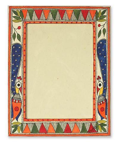 Madhubani photo frame, 'Indian Peacock' (5x7) by NOVICA