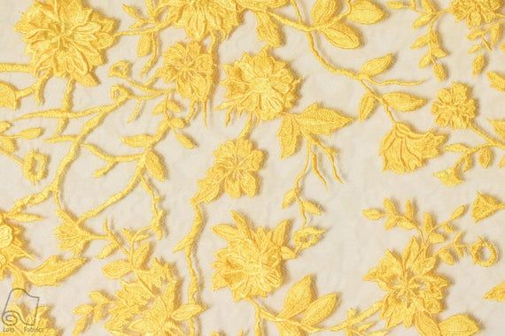 Mustard Sold per metre Delicate Floral Design Lace Dress Fabric