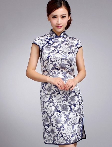 Silk Blue Short Cheongsam / Qipao / Chinese Dress