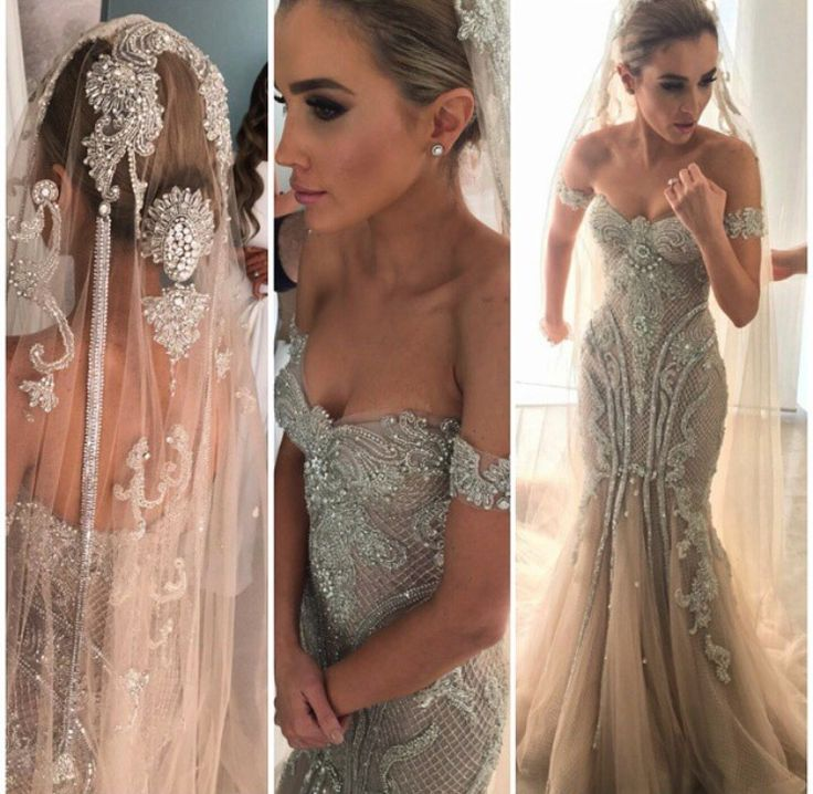 Steven Khalil dress THIS IS FUCKING IT!!!! Everything about it is my dream gown! Mermaid gown, off shoulder, champagne gold, exquisite embellishments and appliqué, the train.... UGHHHH