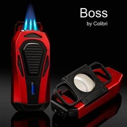 Colibri Boss Lighter: Several Finishes, Triple-jet Flame, Built-in Guillotine Cutter
