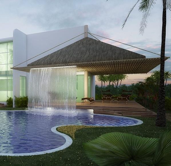 Adentrate en los jardines y piscina y deja que el agua de for Cascadas artificiales modernas