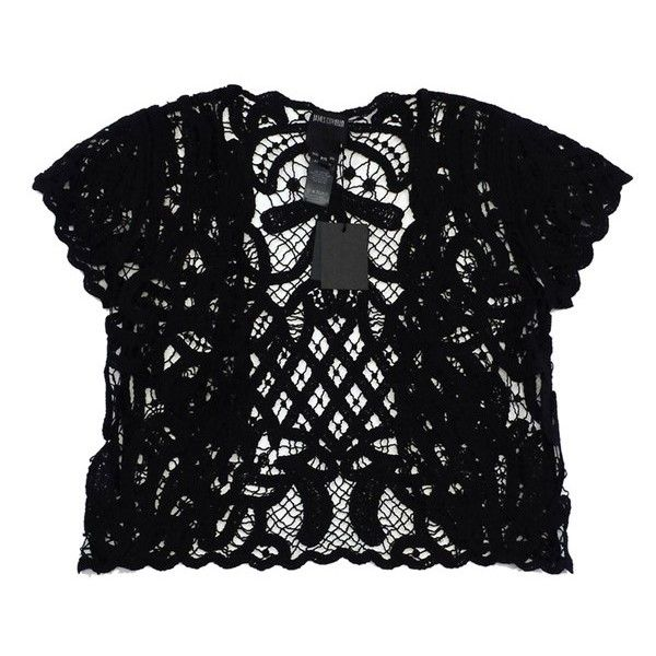 Pre-owned Anna Sui Black Crochet Short Sleeve Top ($73) ❤ liked on Polyvore featuring tops, black, macrame top, anna sui, anna sui top, short sleeve tops and short sleeve crochet top
