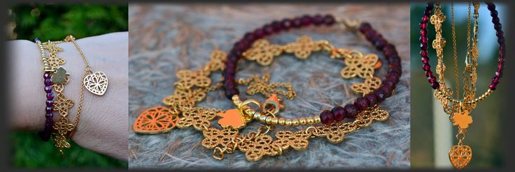 MOKOBELLE goldplated filigree sterling silver, YES VERONA heart and made by me tiny faceted garnet