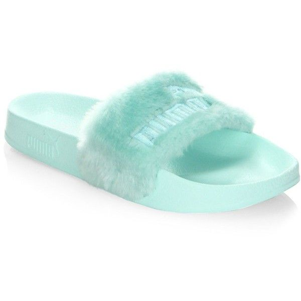 PUMA FENTY by Rihanna Faux-Fur Logo Slides Sandals ($90) ❤ liked on Polyvore featuring shoes, sandals, flats, logo sandals, open toe shoes, open toe sandals, slide sandals and logo shoes