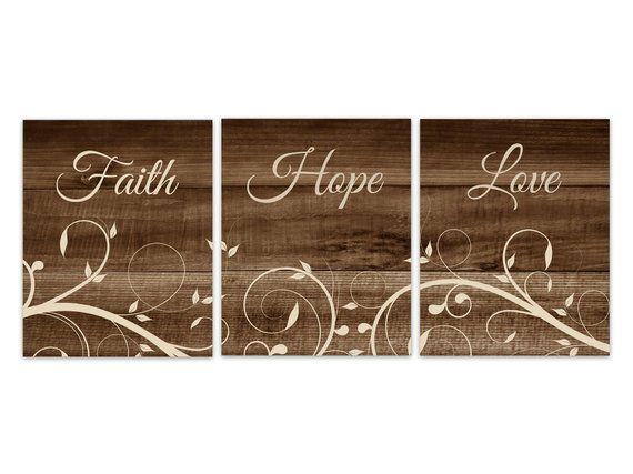 Faith Hope Love Canvas Spiritual Art Prints Rustic Decor