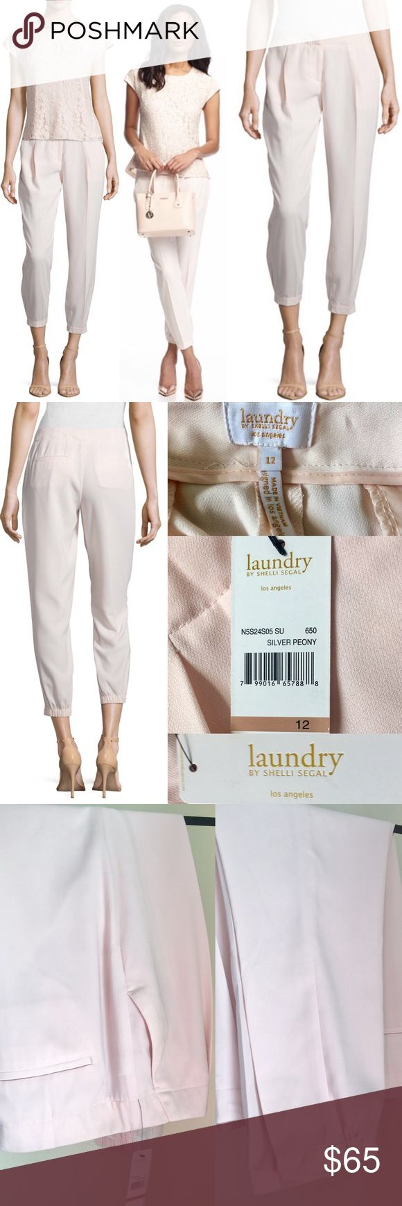 "LAUNDRY SHELLI SEGAL Elastic Hem Relaxed Leg Pants 💕LAUNDRY BY SHELLI SEGAL💕 Elastic-Hem Relaxed-Leg Pants 💕🌸   $189 MSRP; completely sold out. Stunning silver Peony color-super feminine pale pink🌸, side slip+back welt pockets, pleated front, relaxed legs, elasticated hem, tab/zip fly closure, soft+light fabric. Measures flat approx: L37"", Inseam:27, Rise:10"", W:18"", H:22.5"". Ask Qs B4purchase💕Bundle for discount! 💕 Laundry by Shelli Segal Pants Ankle & Cropped"
