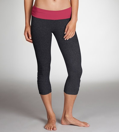 Two-tone capri from Zobha with ruching at the waistband and calves