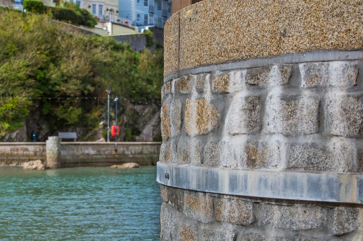 Cropped #granite walling #stone used for harbour wall at Looe, Cornwall