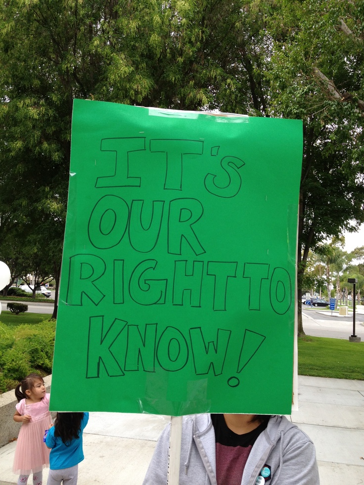 Labeling is essential for consumers. It allows us to choose whether or not we feed genetically engineered food to our families and children.  Consumers just like you are standing up for their right to know.  You can too, join us: http://www.carighttoknow.org: Gmos