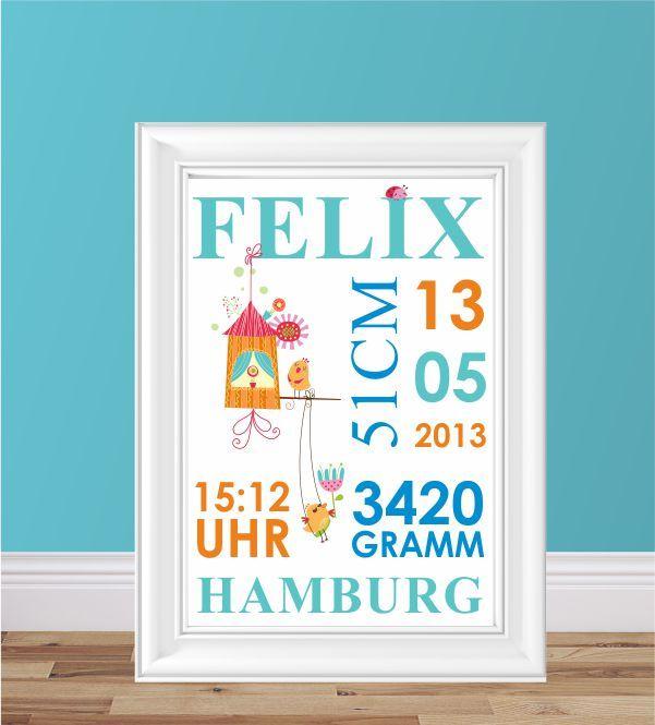 Posterdruck, Poster, Jungsposter, Jungsfarben, Poster mit persönlichen Daten, Geschenk zur Geburt, Geburtsgeschenk, Babyzimmer, Kinderzimmer