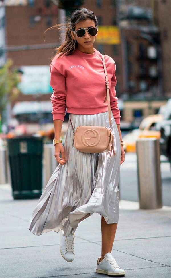 Silver plaited skirt, sweatshirt, sporty chic look