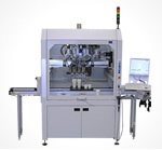 B5600  3-axis dispensing machine cell with 4th servo motor to support a double head dispensing system with high automation and integration capabilities. 700mm x 700mm x 200mm work area, can be configured with line conveyor, double slide system, index/dial table or light curtain.