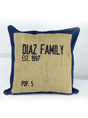 The pillow is made with dark denim and a burlap pillow center square. It ships with an insert. For personalization, you enter your last name, year, and population number (number of people in your family). www.allastaparty.com/elizabeth
