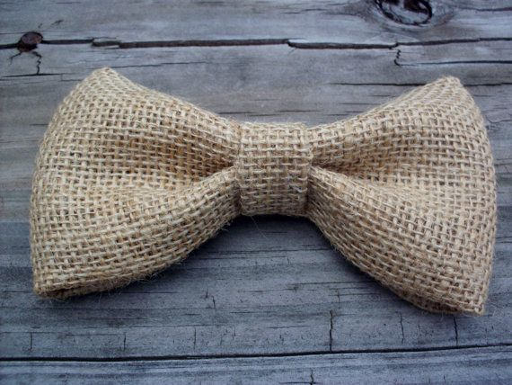Mens burlap clip on bow tie rustic bow tie by LittleBlueBirdSays, $8.00