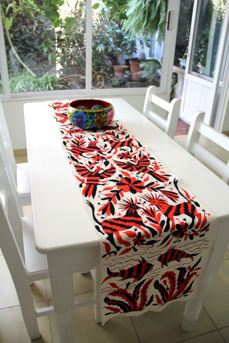 Black and Red one of a kind Hand Embroidered Otomi Table runner Textil – Casa OtomiMexico, Tenango, mexican wedding, textile, mexican suzani, suzani, embroidery, hand embroidered, otomi, , otomi, table runner, fiber art, mexican, handmade, original, authetic, textile , mexico casa, mexican decor, mexican interior, frida, kahlo, mexican folk, folk art, mexican house, mexican home, puebla collection, las flores, travel tote, boho, tote, handbag, purse, cushion, pillow