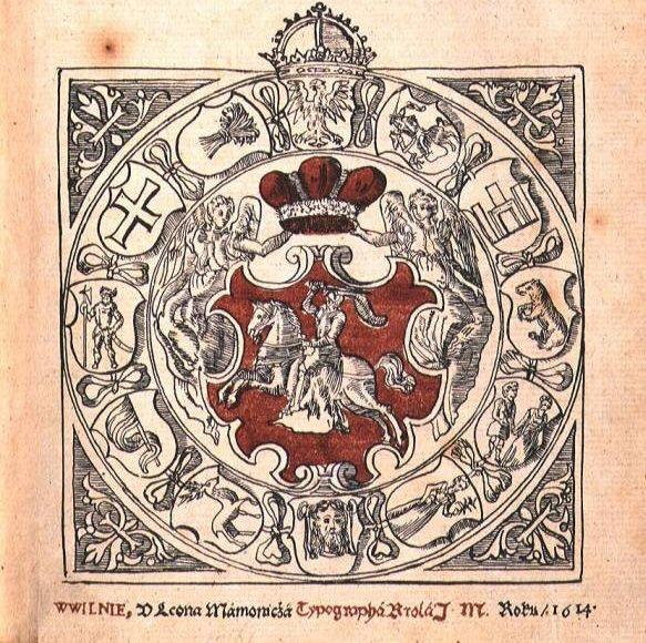 Выява «Пагоні» з віленскага выдання Статуту Вялікага Княства Літоўскага (1614)