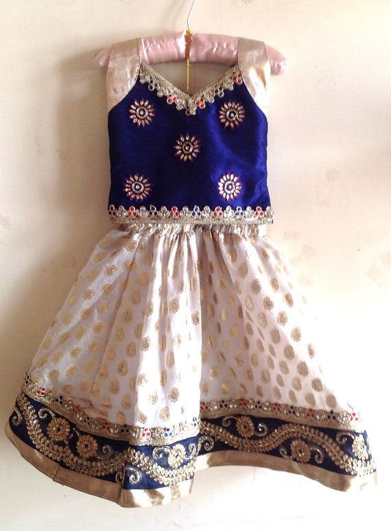 Girls navy blue silk and white brocade lehenga with by Bubblinga