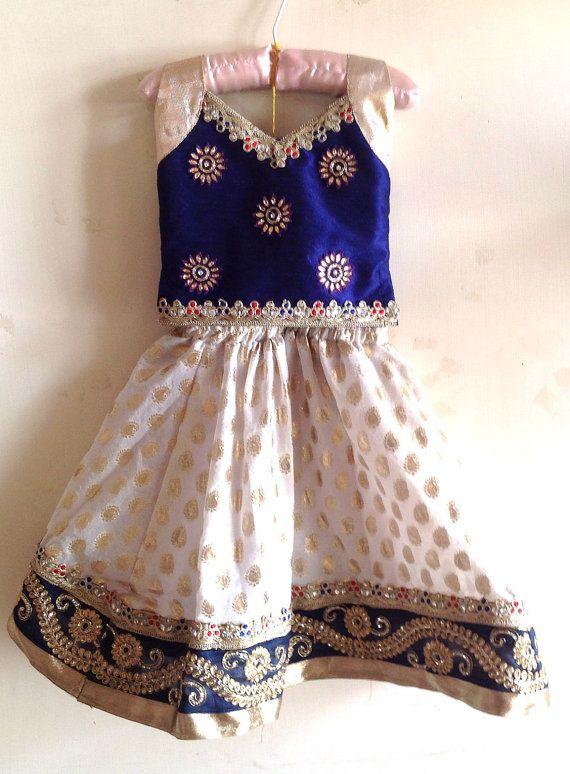 Girls navy blue silk and white brocade lehenga with by Bubblinga