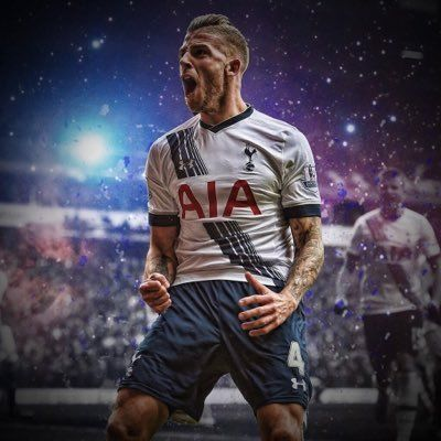 Toby celebrates his goal, the second of three Spurs strikes in a 6 minute demolition of United.
