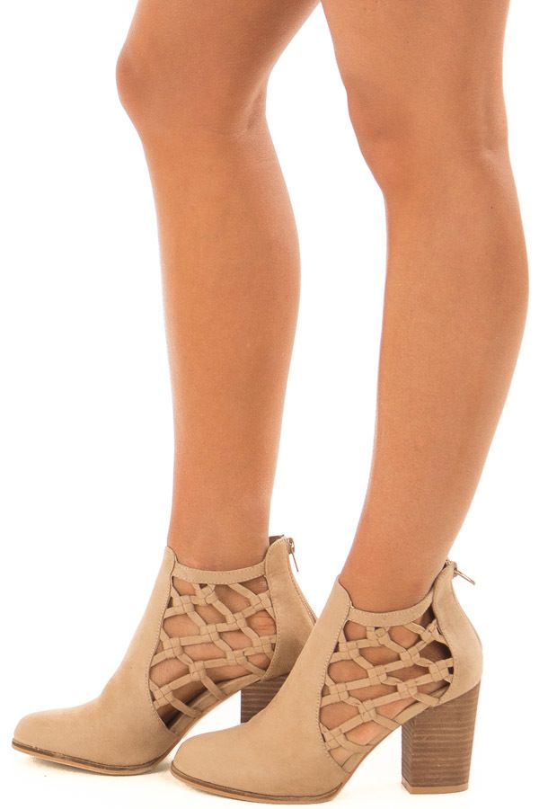 ea485764c Taupe Faux Suede Heeled Bootie with Side Knotted Detail Heeled Boots