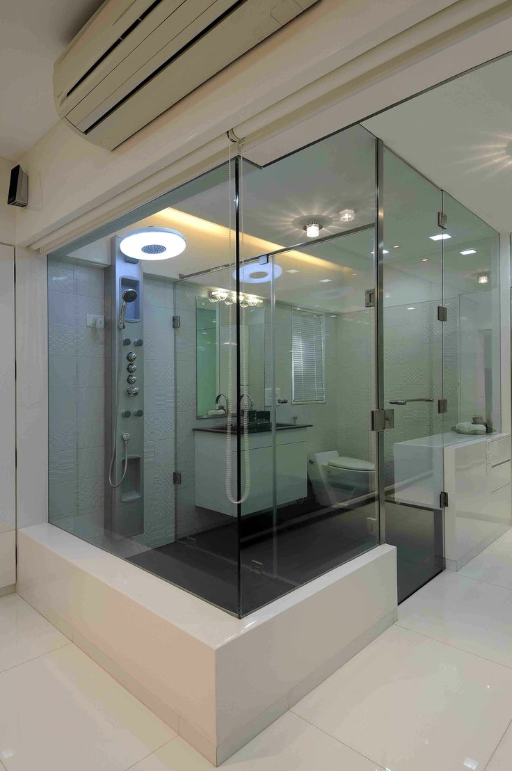 luxury master bathroom with glass doors designed by sonali shah architect in mumbai