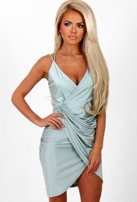 Give Him The Slip Mint Slinky Wrap Front Dress