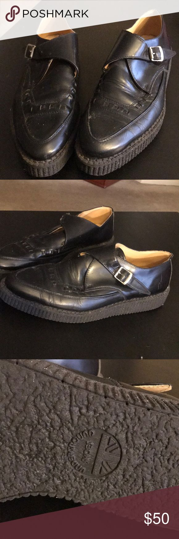 🦈underground men's shoes Great pair of black pointy buckle shoes from Underground shoes. Used but still in great shape. Slight wear on the soles. See pictures. Shoes are leather. Great with a pair of jeans or dress pants. Size 11. Underground Shoes Shoes
