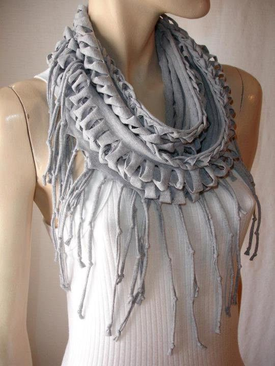 DIY tee shirt scarf.  I keep seeimg this one but can't seem to find a tutorial.  This one just has a level of cool that most of them don't.