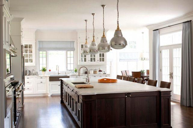 White Kitchen Cabinets Dark Stained Island Kitchen #Kitchen